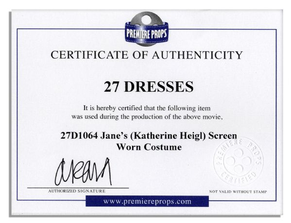 Katherine Heigl Screen-Worn Wardrobe From Her Hit Romantic Comedy ''27 Dresses''