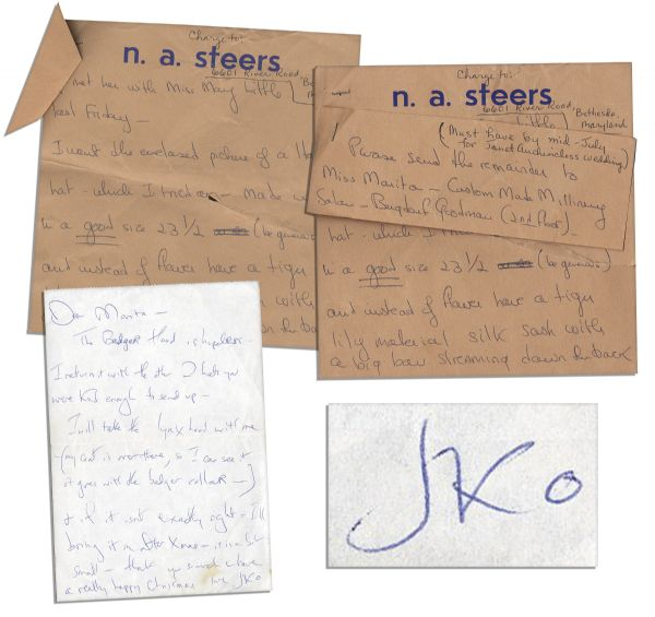 Jackie Kennedy Onassis Collection of Three Handwritten Notes to Her Bergdorf Personal Shopper