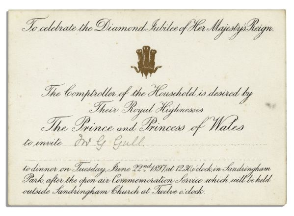 Queen Victoria Diamond Jubilee Invitation From 1897