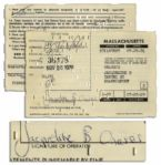 Driver License Application Signed & Filled Out by Jackie Kennedy Onassis When She Remarried & Took Onassis Name in 1970