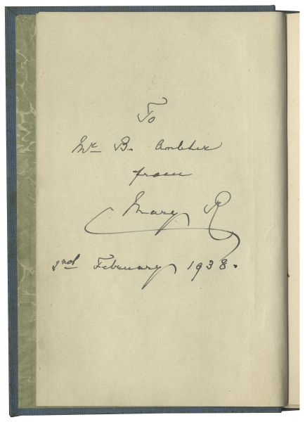 Book Signed by Queen Mary of Teck in 1938