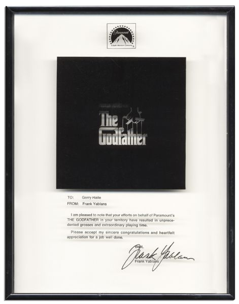 Unique Plaque From the President of Paramount Pictures for the Success of ''The Godfather'' -- ''...unprecedented grosses and extraordinary playing time...''