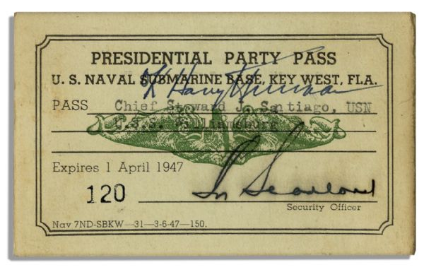 Harry Truman Signed Navy Card as President