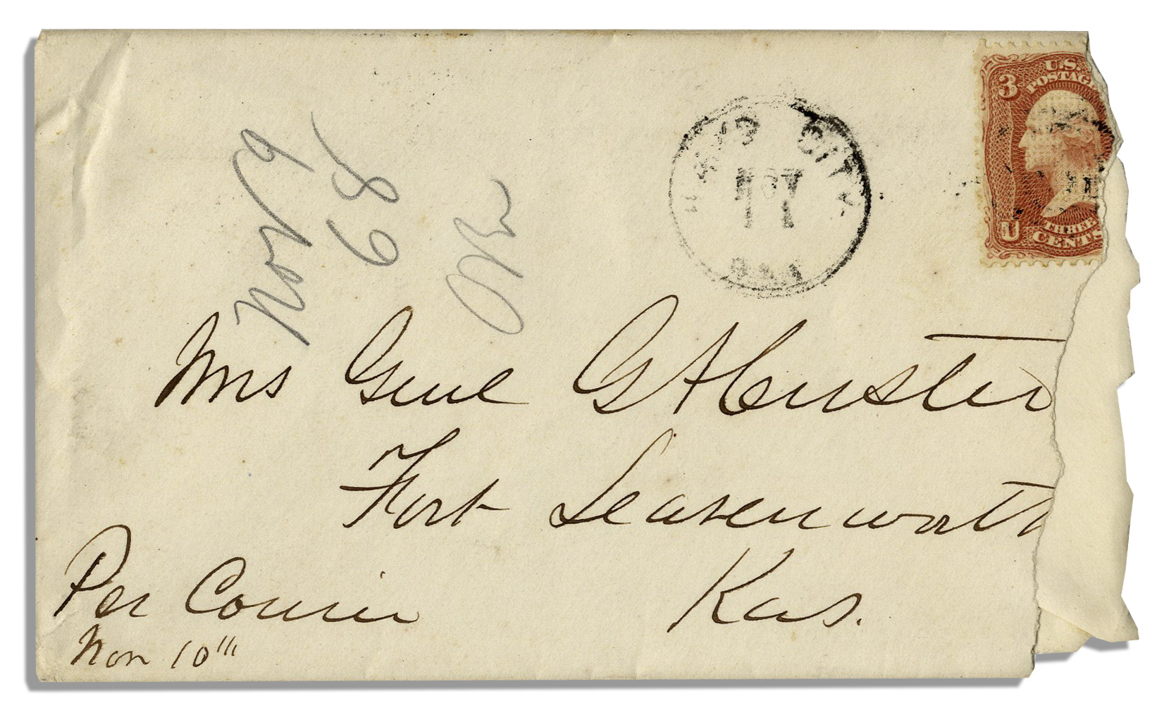 George Custer Autograph George Custer Envelope With a Full ''G.A. Custer'' Signature