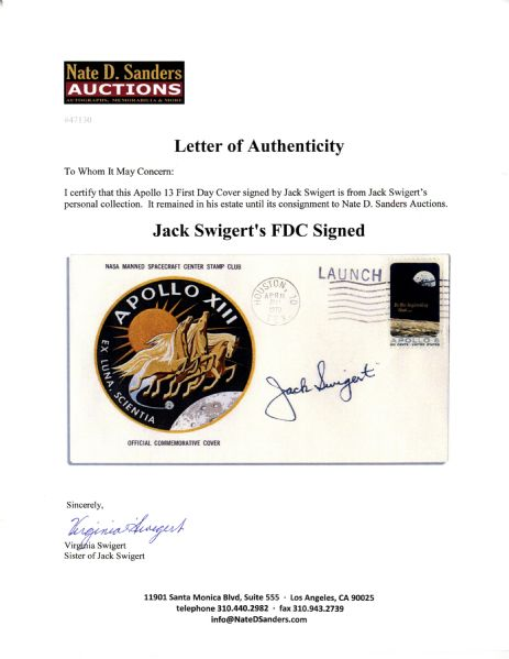 Jack Swigert's Personally Owned Apollo 13 First Day Cover Signed