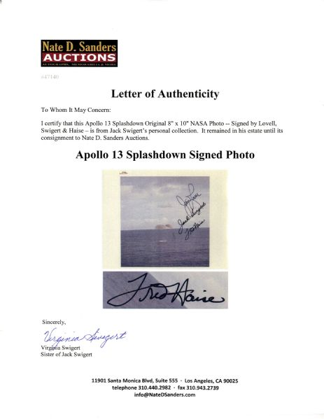 Jack Swigert's Personally Owned Apollo 13 Splashdown NASA Photo -- Signed by Lovell, Swigert & Haise