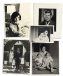 Lot of 5 Photographs of JFK and Jackie Kennedy -- Includes Solo Portraits Along With Photographs of the Kennedy Children