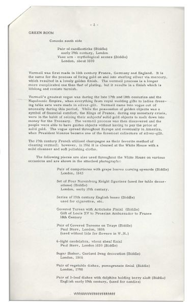 Press Release Pertaining to Jackie Kennedy's Famous Renovation of the White House -- ''...Outstanding pieces from the fabulous vermeil collection...''