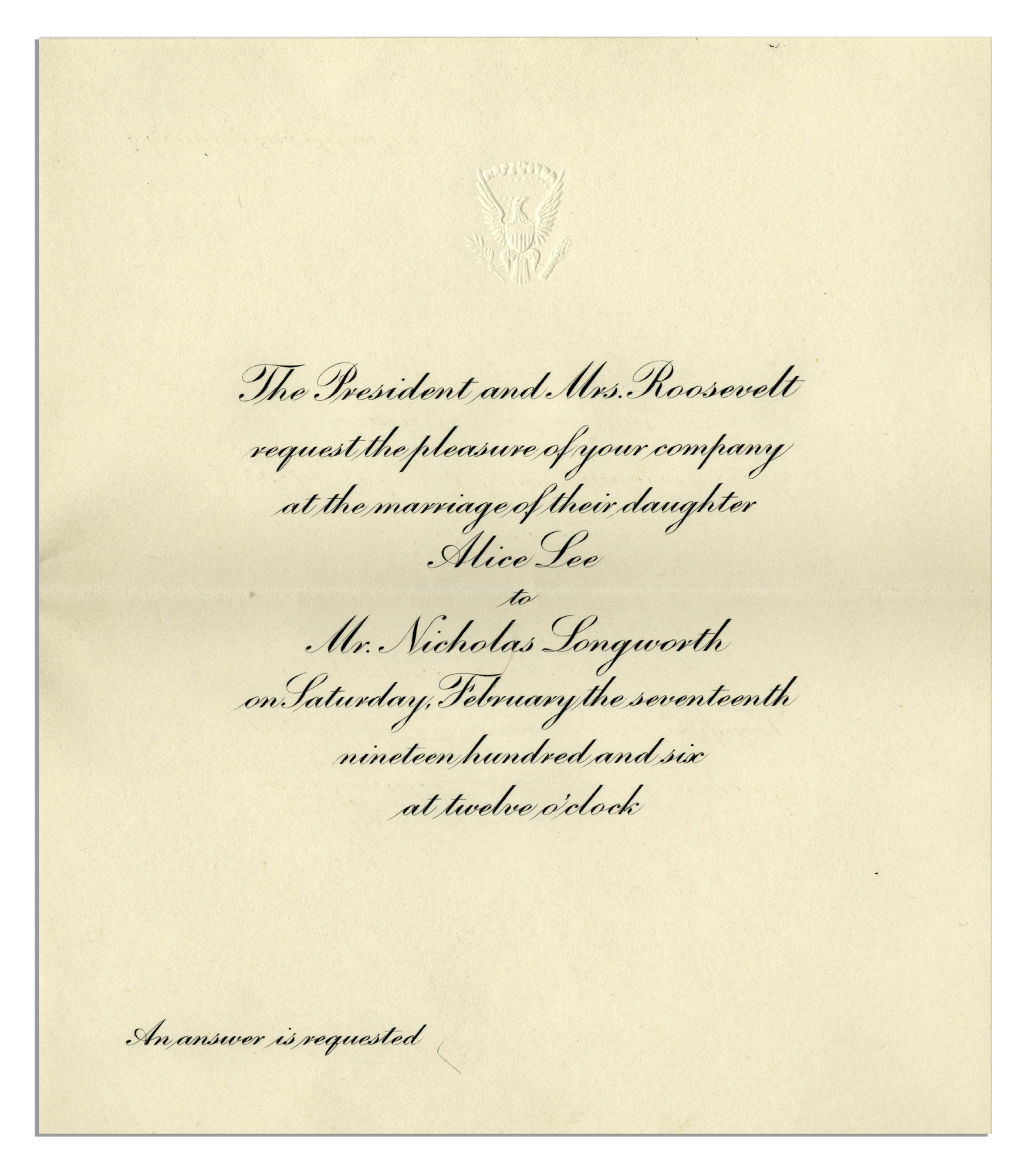 Lot Detail Theodore Roosevelt White House Invitation From 1906