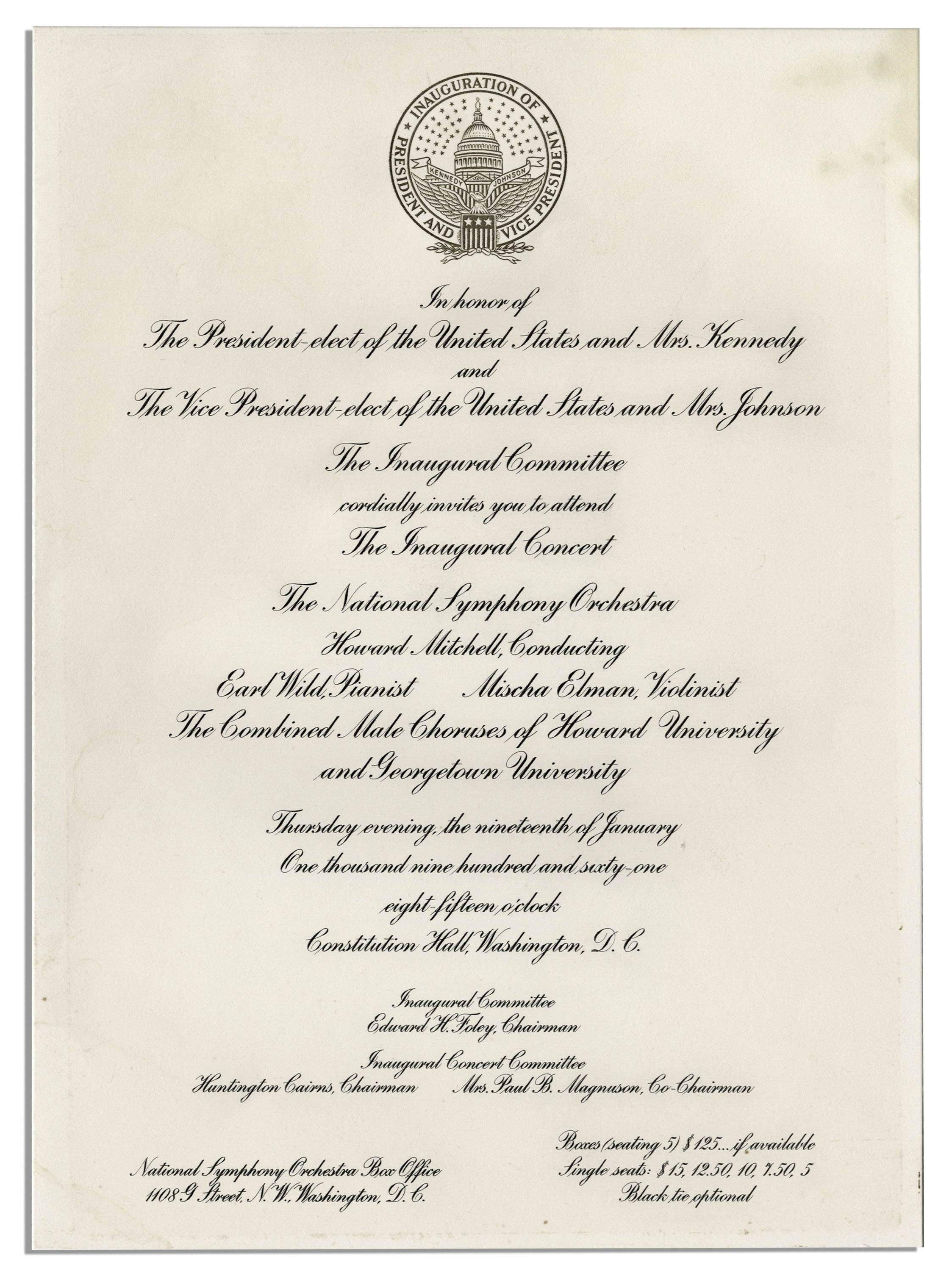 Lot detail john f kennedy inauguration lot invitation john f kennedy inauguration lot invitation program for the inauguration itself stopboris Image collections