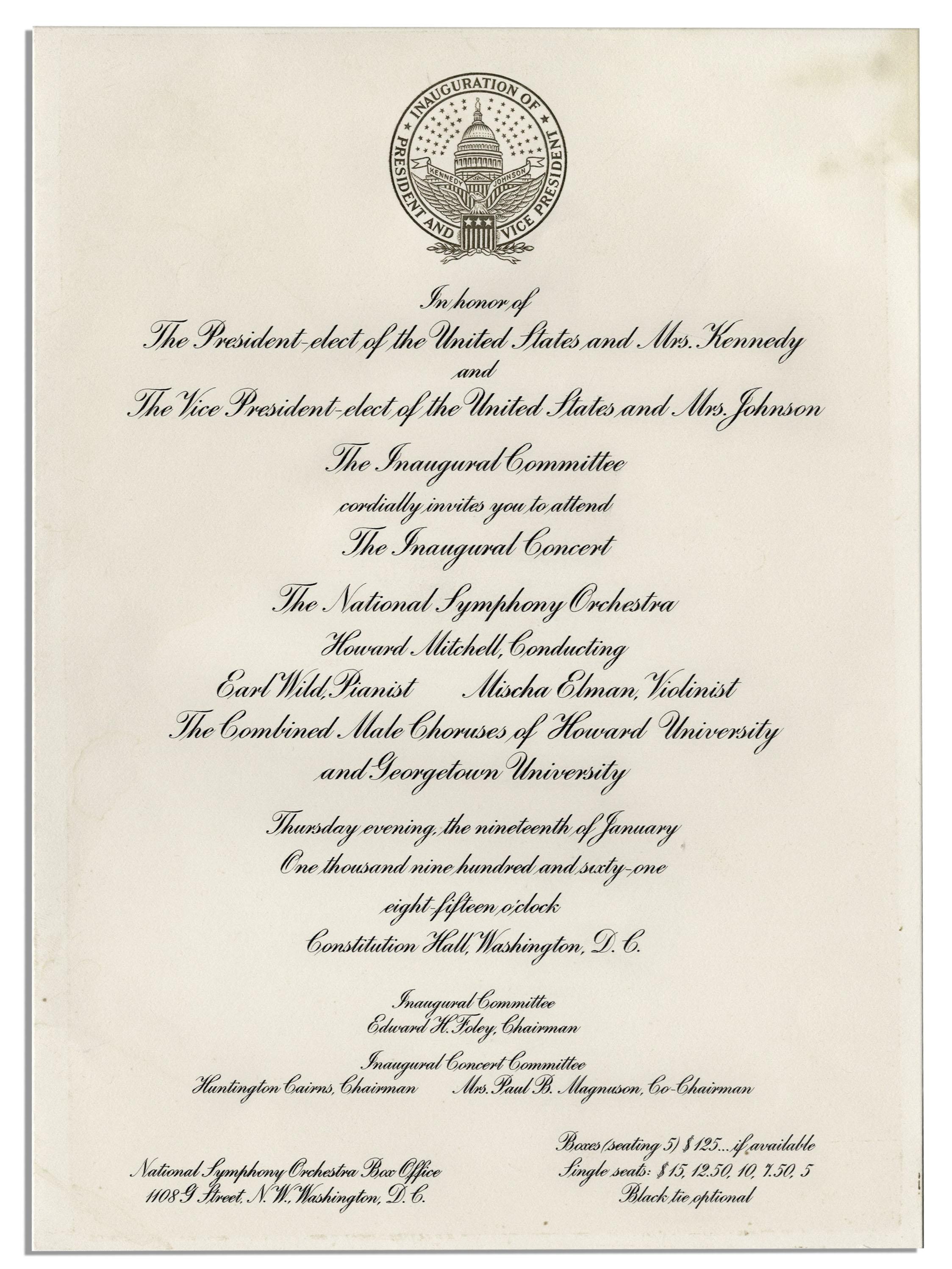 lot detail john f kennedy inauguration lot invitation