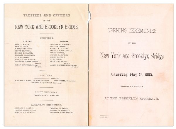 Program From the Opening Ceremonies of the Brooklyn Bridge