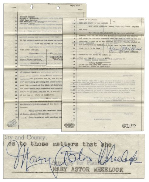 Mary Astor Divorce Papers Signed, Citing ''Extreme Cruelty'' -- ''...because of his idleness, profligacy and dissipation...''