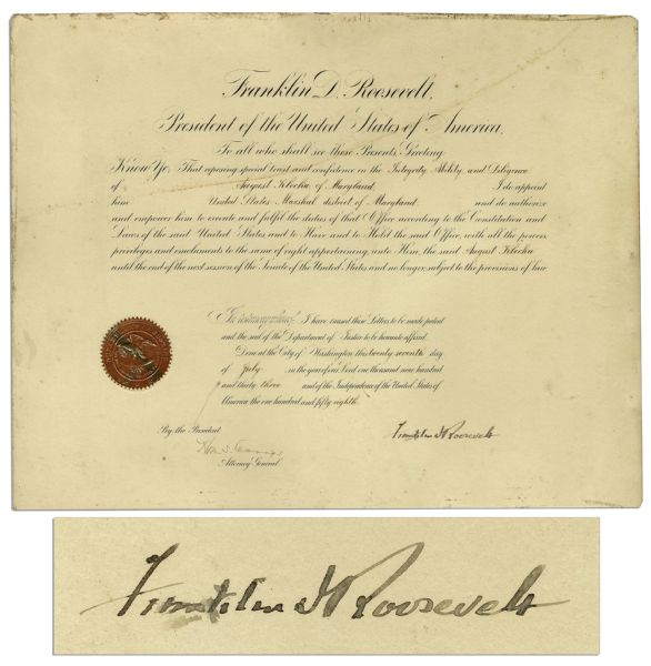 Franklin D. Roosevelt Document Signed as President -- Large Document Measures 19.75'' x 15.5''