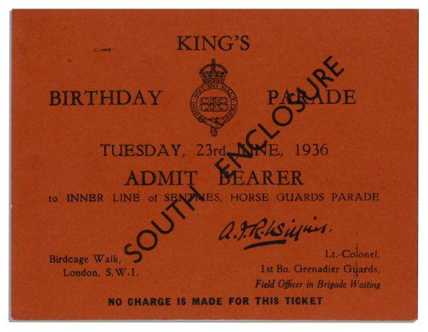 Ticket to the Birthday Parade of King Edward VIII Held on 23 June 1936 -- His Sole Birthday as Monarch Before Abdication Later That Year