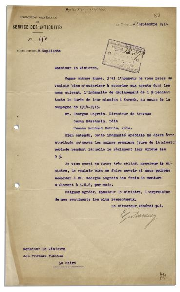 Egyptologist Georges Daressy Typed Letter Signed From 1914 Pertaining to The Karnak Site