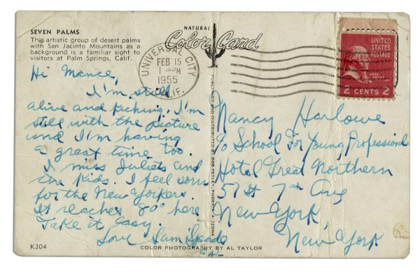 Sal Mineo Autograph Letter Signed on a Postcard in 1955 Just Before He Started Filming ''Rebel Without a Cause'' -- ''...I'm Still Alive And Kicking...''