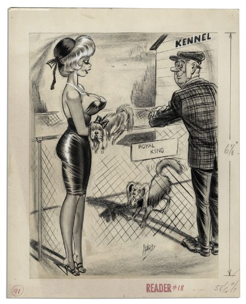 Original Illustration Drawn by Comic Book Artist Bill Ward -- Signed by Ward