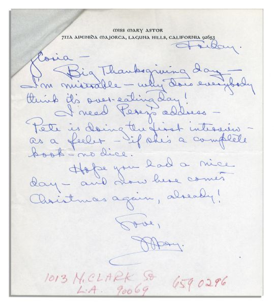 Mary Astor Autograph Letter Signed