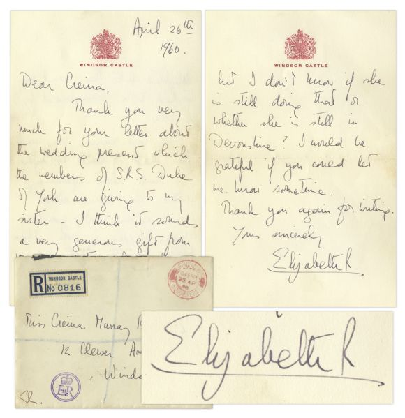 Queen Elizabeth Autograph Queen Elizabeth II Autograph Letter Signed From 1960 -- ''...The last reunion was such fun that I think we ought to think about organising another one round about Christmas time!...''