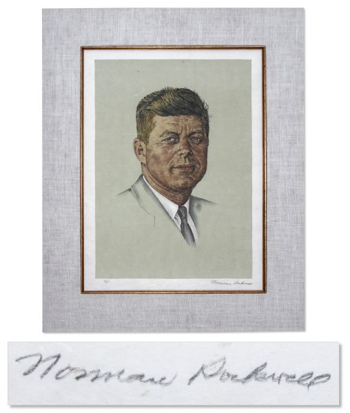 John F. Kennedy Portrait, Signed by the Artist Norman Rockwell -- One of Only 25 Artist Proofs