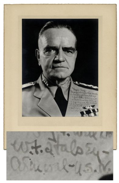 WWII Admiral William ''Bull'' Halsey Signed Photograph -- Inscribed to Jasper Acuff, ''wartime comrade [who] brought us brains, bullets, & fuel''
