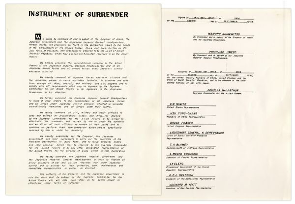 WWII Instrument of Surrender Ceremony Card -- From the Famous Ceremony Aboard The USS Missouri in 1945 -- Given to U.S. Commodore Jasper Acuff