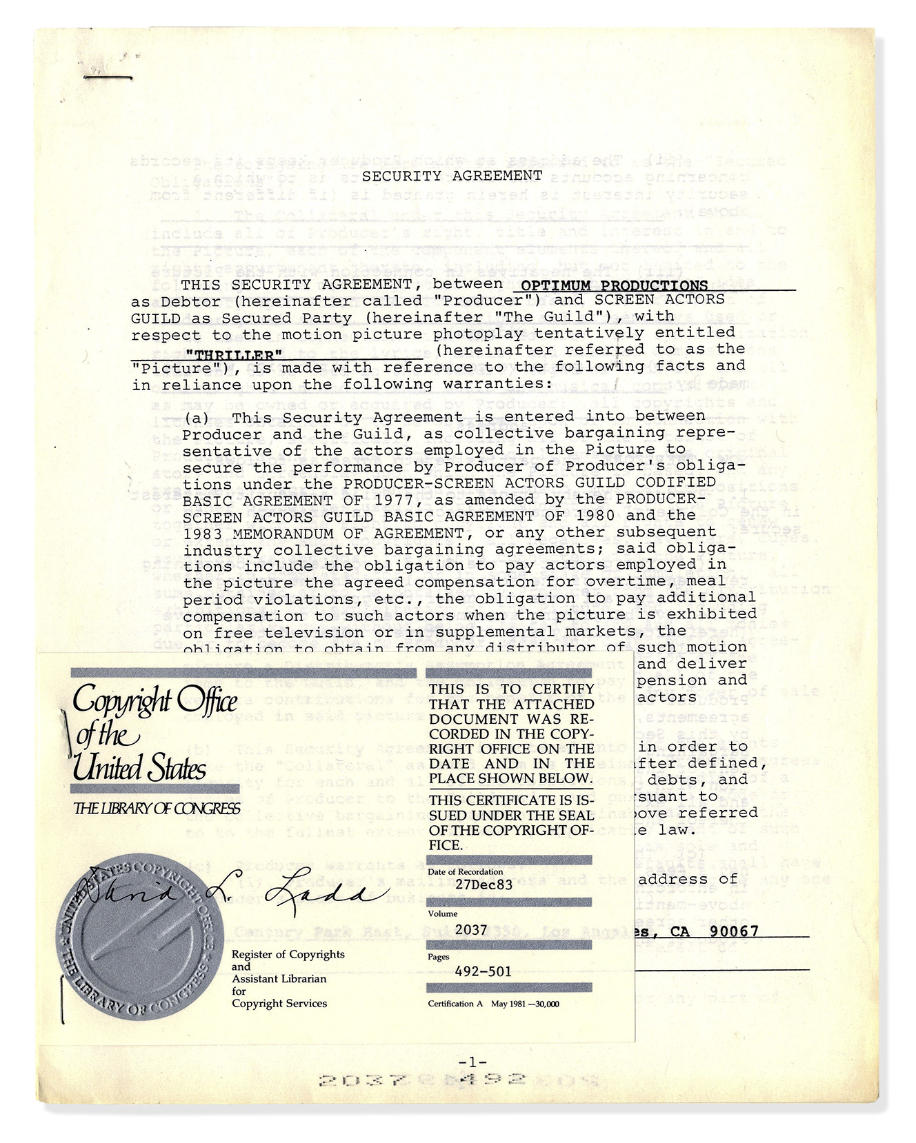 Lot Detail - Michael Jackson Signed \'\'Thriller\'\' Contract -- Large ...