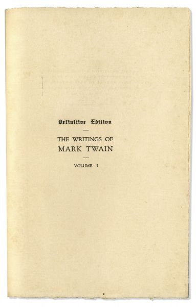 Mark Twain Signed ''Works'' -- Complete 35 Volume Set, Signed Both ''S.L. Clemens / Mark Twain'' in the First Volume