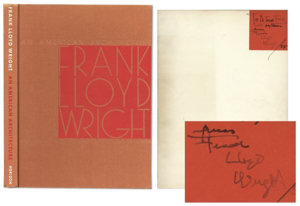 Frank Lloyd Wright Signed First Edition of ''American Architecture''