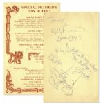 Beach Boys Signed Menu -- Signed by Brian Wilson & Dennis Wilson Along With Other Band Members
