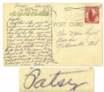 Patsy Cline Autograph Postcard Signed -- Sent From Las Vegas in 1962 -- ...Ive been getting real good crowds & have pictures to show you. I cant wait to get home...