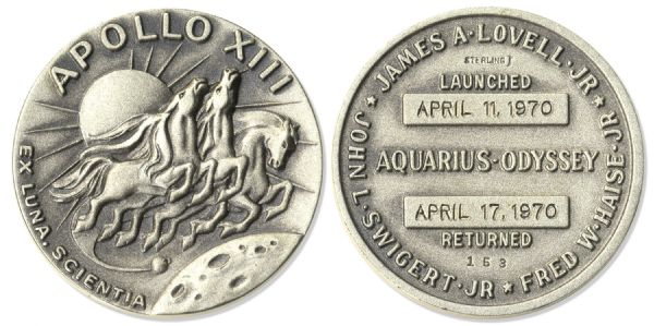 Apollo 13 Flown Robbins Medal -- From the Collection of Jack Swigert, Apollo 13 Command Module Pilot -- Serial Number 153
