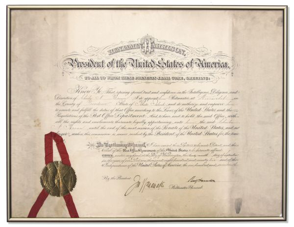 Benjamin Harrison Large Document Signed as President