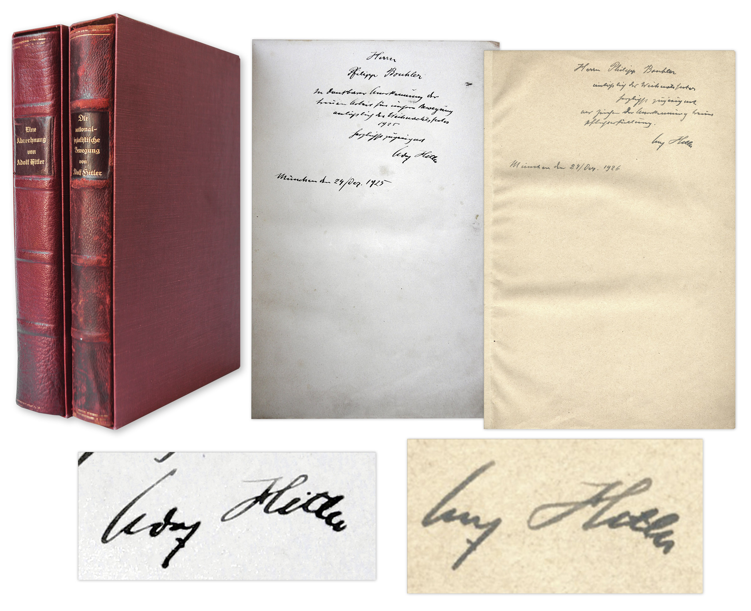 Adolf Hitler Autograph Adolf Hitler Signed First Editions of ''Mein Kampf'' -- Both Volumes Signed by Hitler in 1925 and 1926, Inscribed to Philipp Bouhler, Nazi #12 -- ''...your loyal work for our movement...''