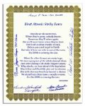 Enola Gay Poem Signed by Five Crew Members Including Tibbets, Jeppson, Caron & Ferebee