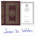 James D. Watson Avoid Boring People  Signed Book -- Bound in Leather With 22kt Gold Detailing