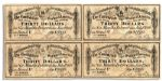 Four 1864 Confederate War Bond Coupons -- Each for $30 Printed by Archer