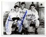 Joe DiMaggio and Ted Williams Signed 10 x 8 Photo -- Also Signed by Dom DiMaggio -- With PSA/DNA COA