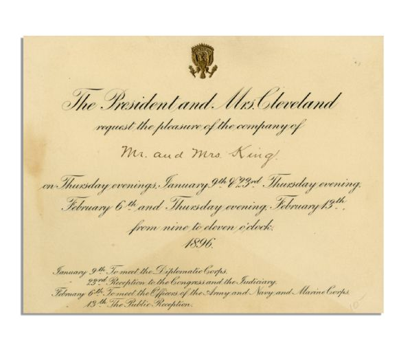 Grover Cleveland 1896 White House Invitation