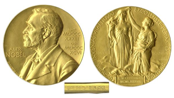 Nobel Prize Awarded to Physicist Leon Lederman in 1988 -- Won for His Groundbreaking Discovery of a New Atomic Particle -- One of Only 10 Nobel Prizes Ever to Be Auctioned