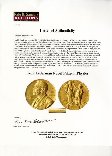 Oregon Territory 1st edition Karl Bodmer Nobel Prize Awarded to Physicist Leon Lederman in 1988 -- Won for His Groundbreaking Discovery of a New Atomic Particle -- One of Only 10 Nobel Prizes Ever to Be Auctioned
