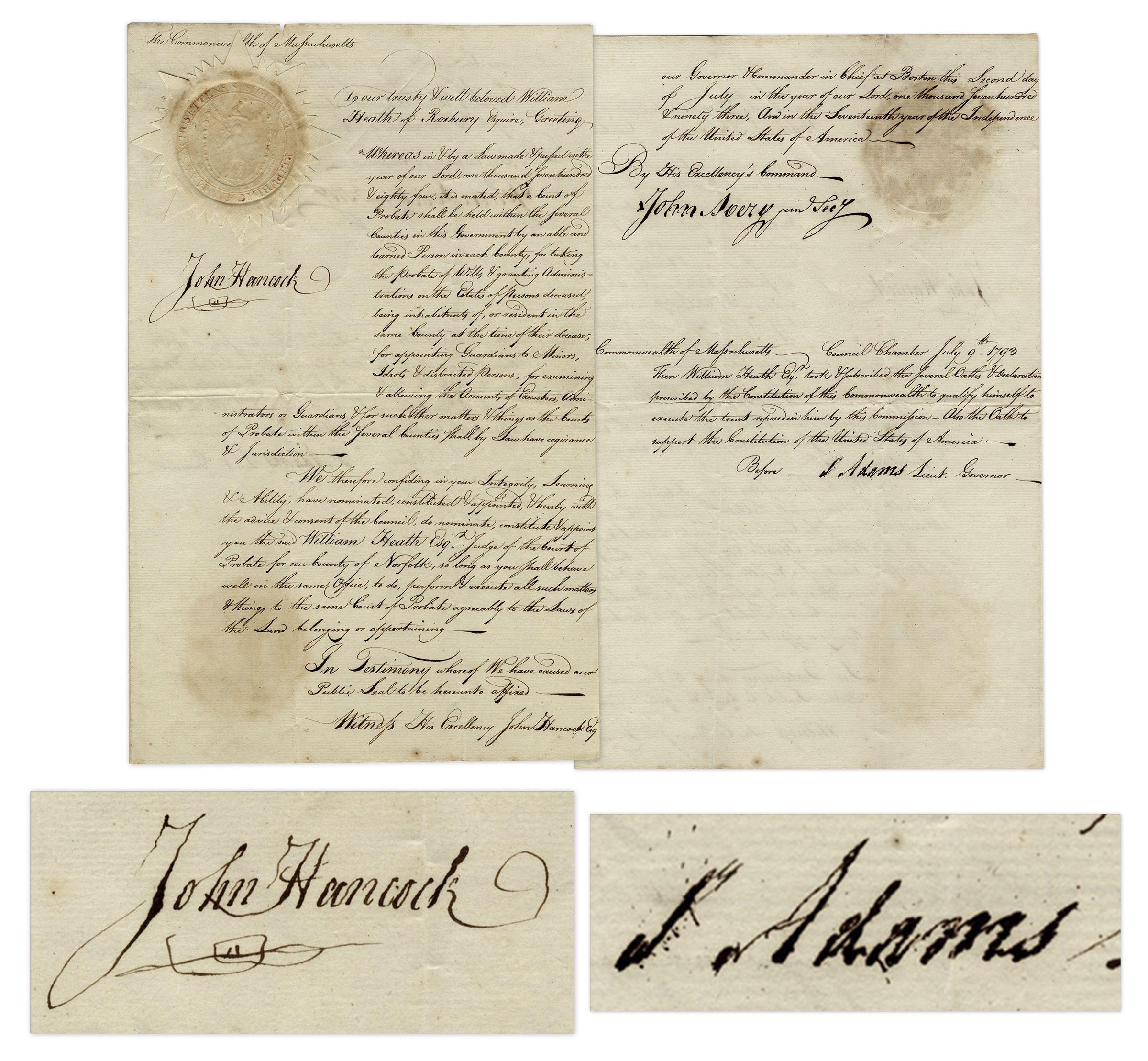 John Hancock Autograph John Hancock & Samuel Adams Signed Judicial Appointment From 1793