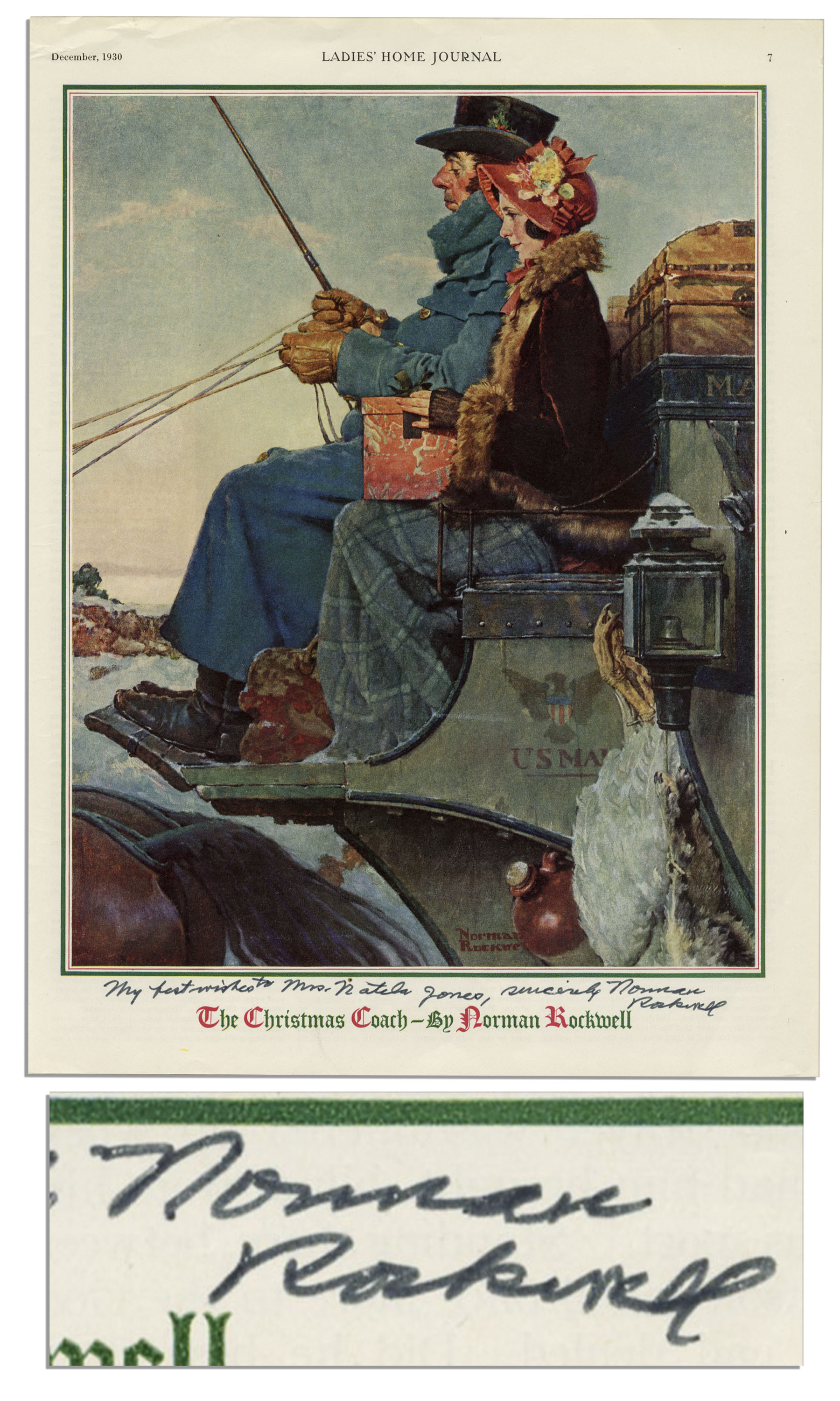 Lot Detail - Norman Rockwell Signed Print of \'\'The Christmas Coach\'\'