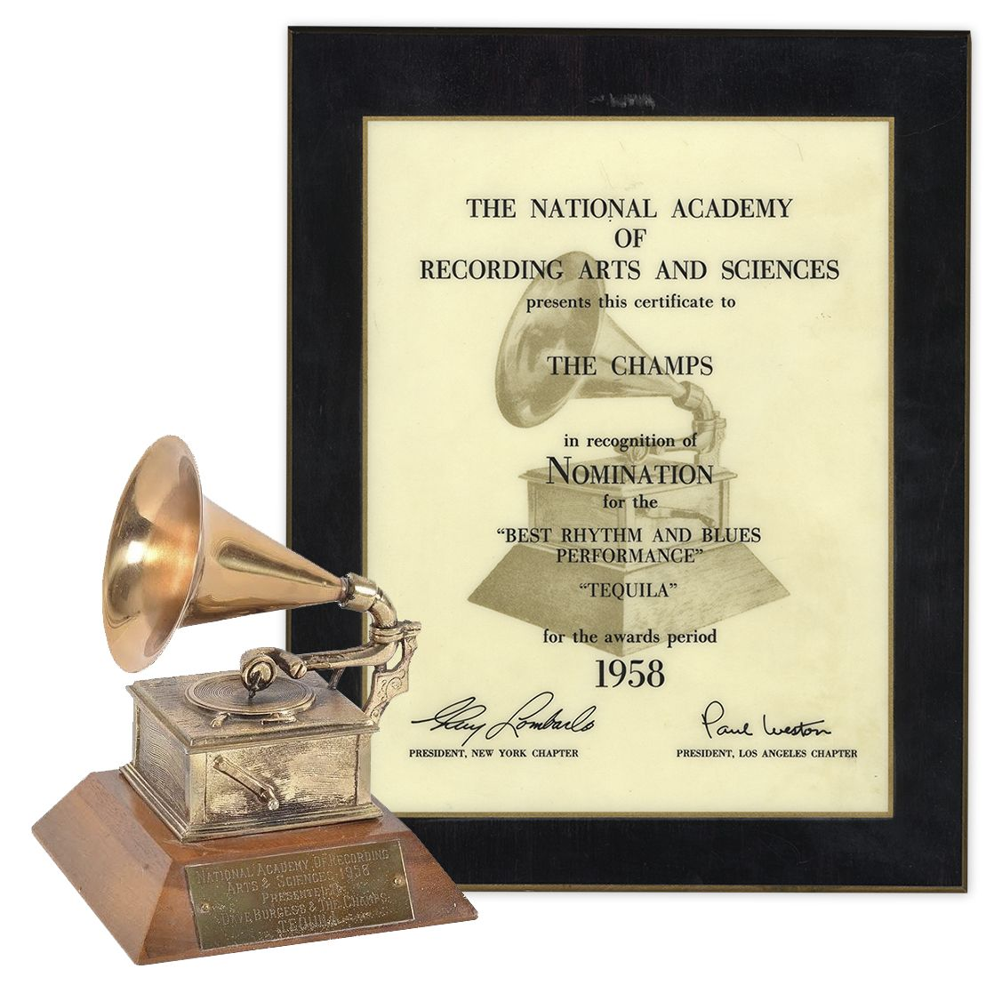 Grammy Auction First-Ever Grammy Award From 1958 -- Won by The Champs for Best R&B Performance for the Classic Song ''Tequila'' -- Only 28 Were Awarded