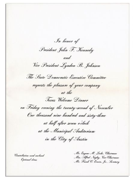 Invitation to Dinner Welcoming JFK to Texas the Night of His Assassination