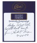 Richard Nixon Bookplate Signed & Inscribed in His Hand -- Bookplate Made for His Autobiography Memoirs