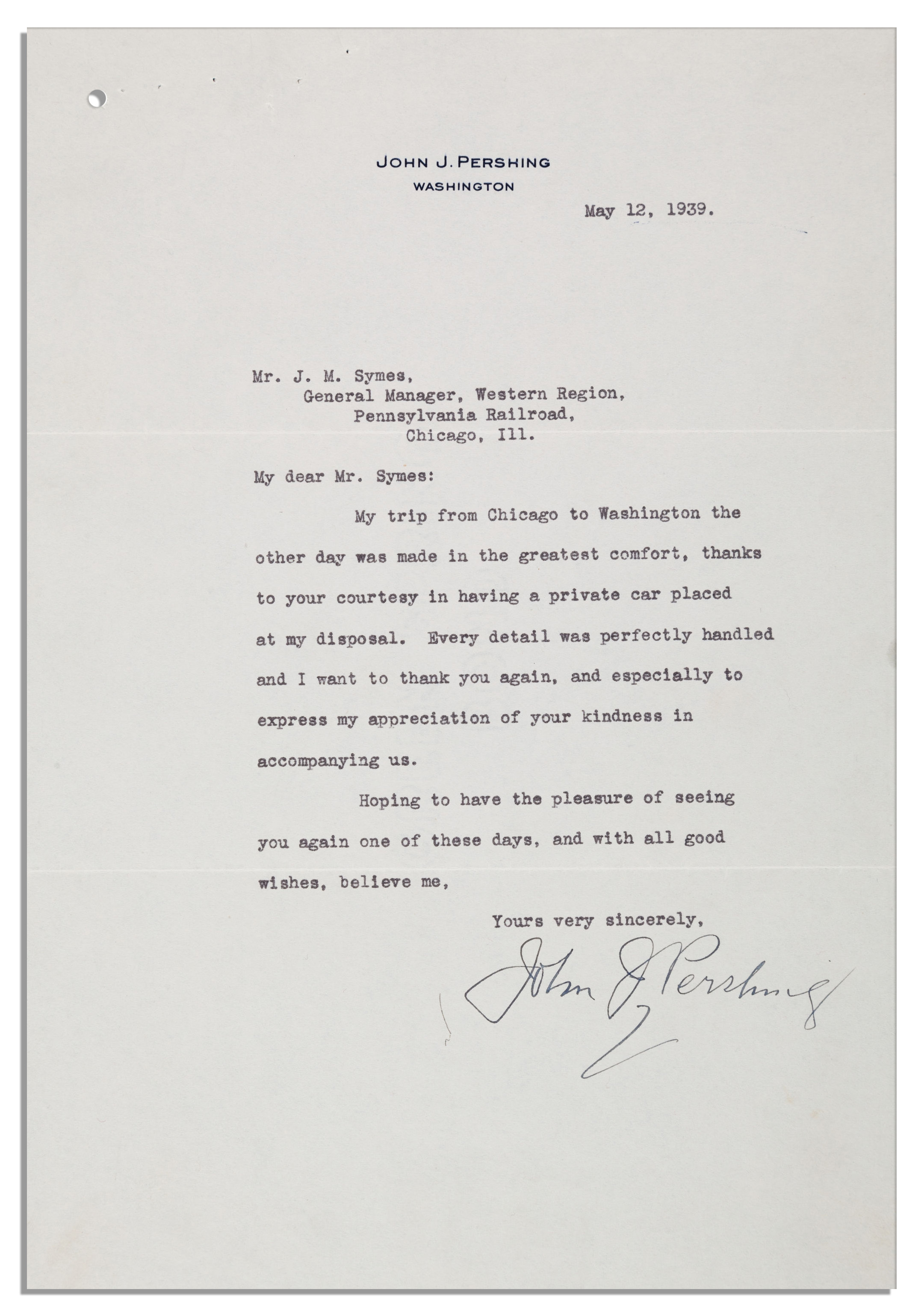 John J Pershing Typed Letter Signed From 1939