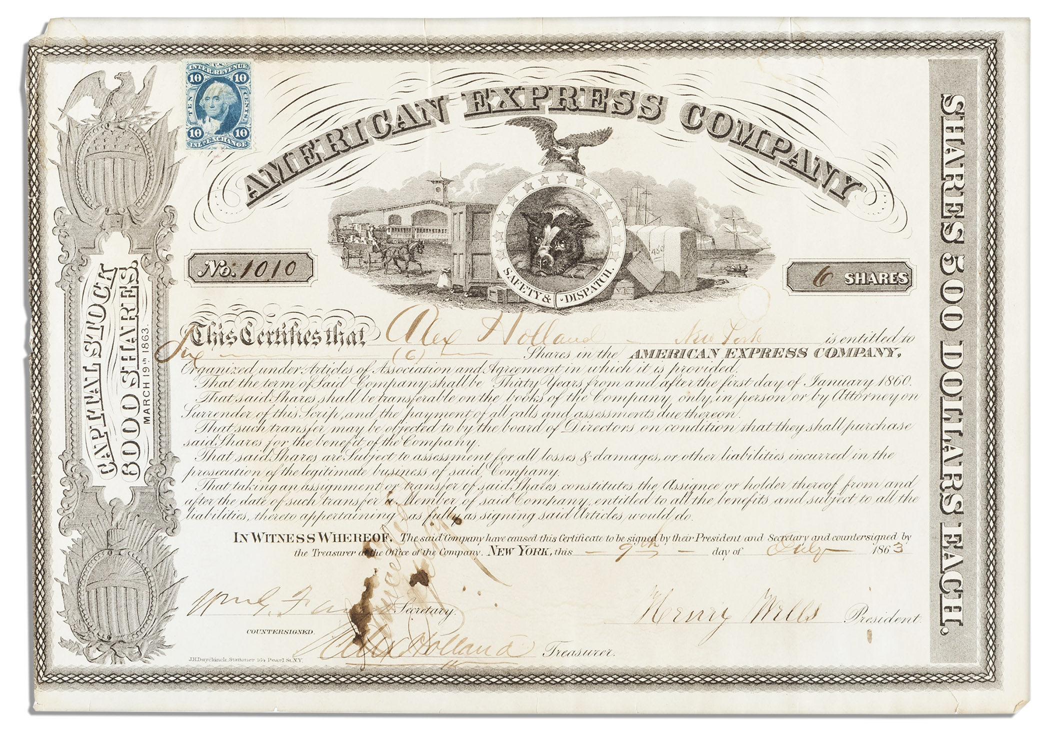 Lot detail american express stock certificate signed by its american express stock certificate signed by its founders henry wells william fargo 1betcityfo Choice Image