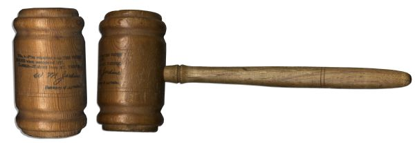 Presentation Gavel Made of Pine Wood From the White House & Hickory From Mount Vernon -- Circa 1928